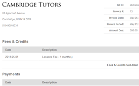 online invoicing for tutoring centers tutorpanel
